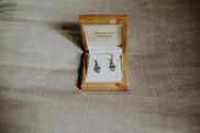 Antique earrings in box for wedding day