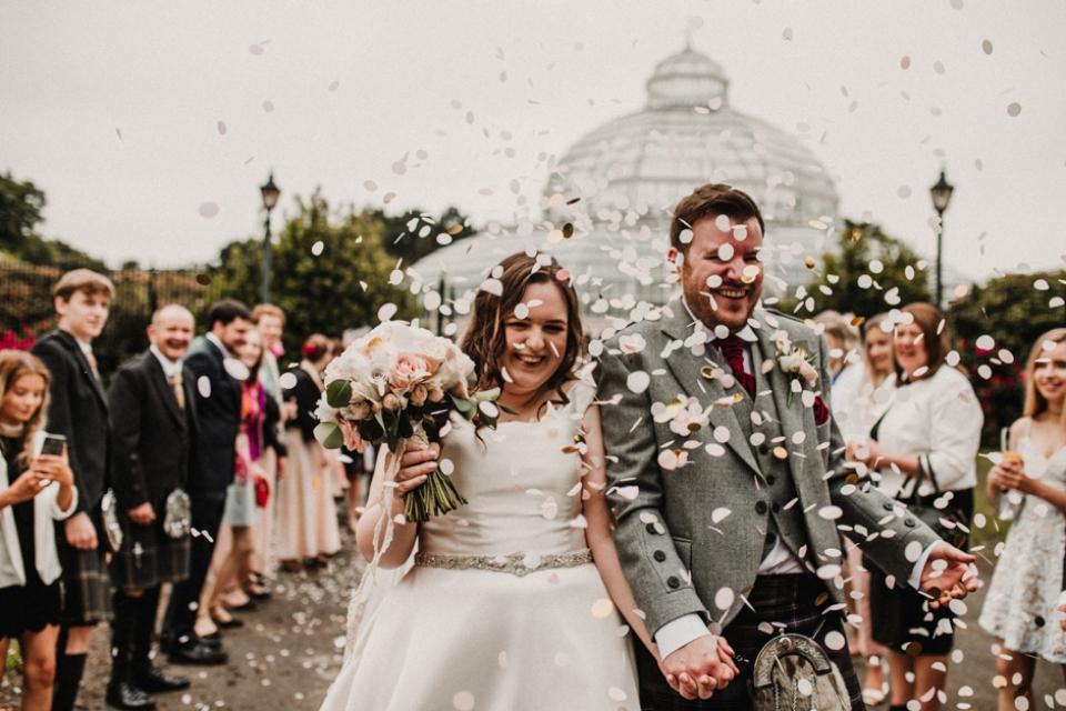 sefton palm house wedding day confetti