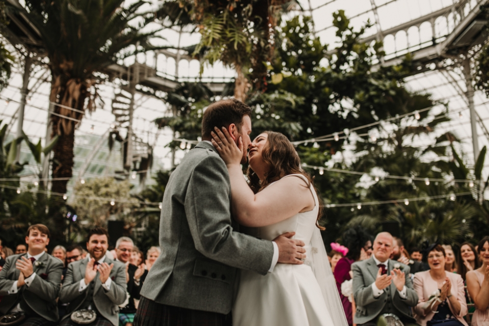 first kiss sefton palm house wedding