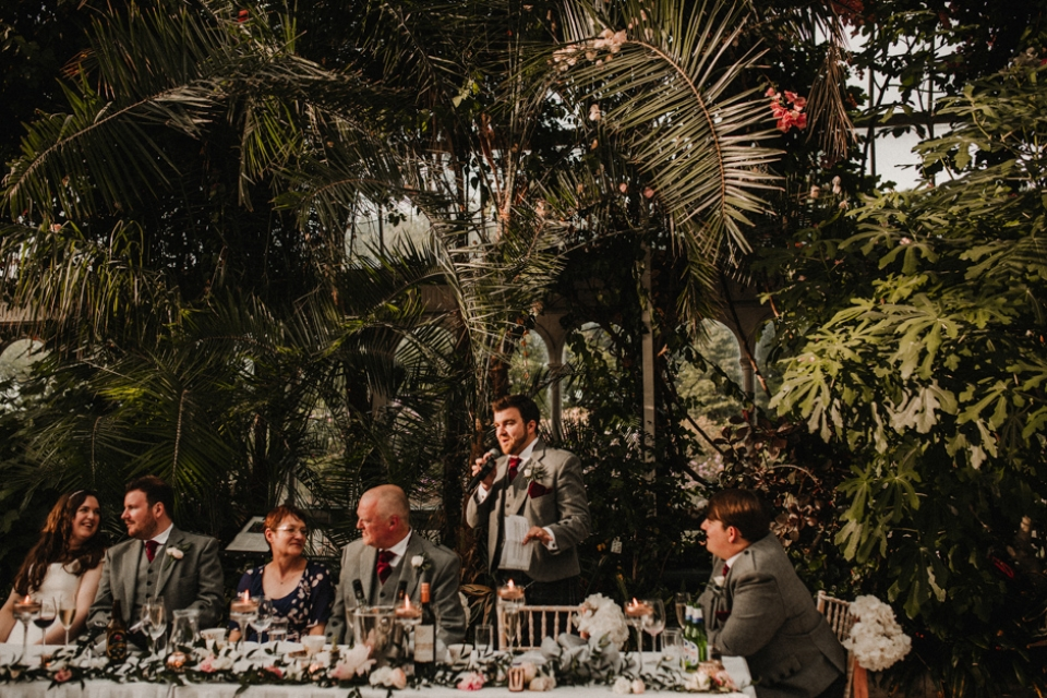 best man giving his best man speech at sefton palm house,  liverpool