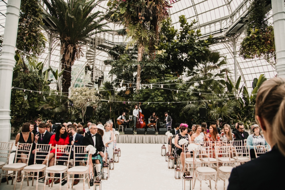ceremony room at sefton palm house wedding venue