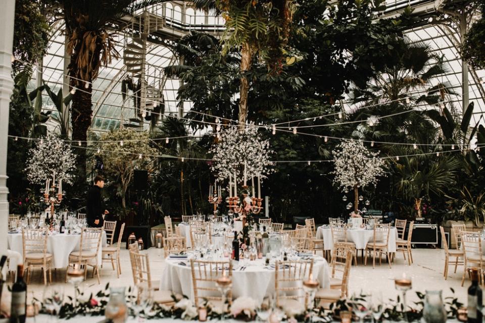 sefton palm house wedding venue set up wedding breakfast