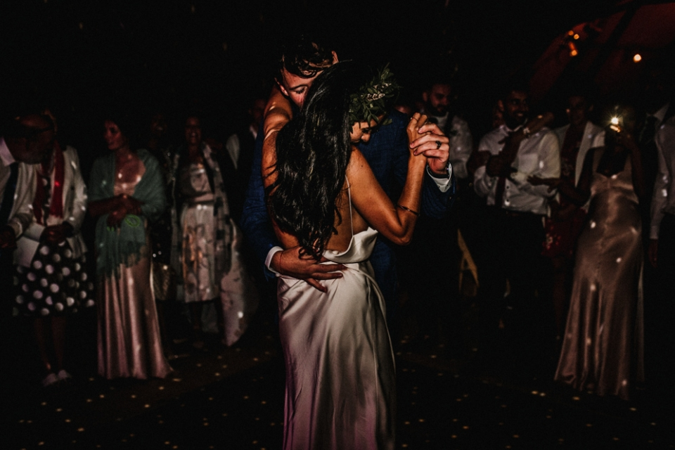 first dancing in a tipi , cotswolds wedding