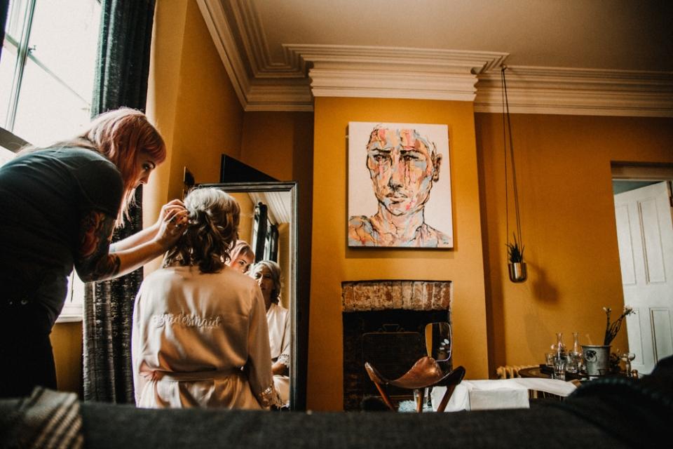 bridesmaids having hair done at Merris court bridal suite