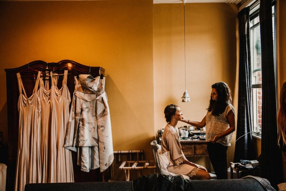 BRIDESMAIDS HAVING HAIR AND MAKEUP DONE AT MERRIS COURT WEDDING VENUE