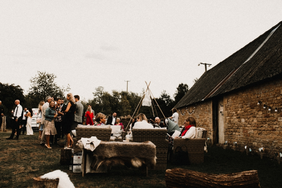 wedding reception in family farm , cotswolds wedding