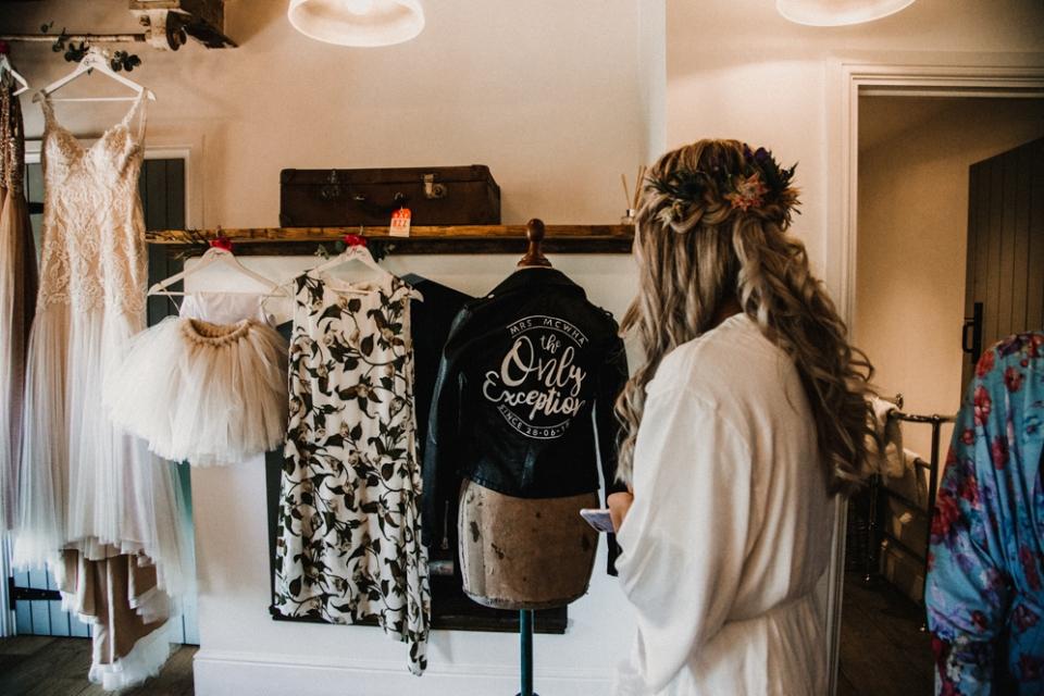 bride received wedding gift , bespoke wedding jacket