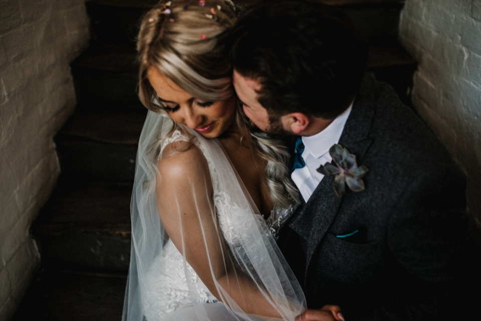 couple having relaxed and intimate wedding portraits , west mill