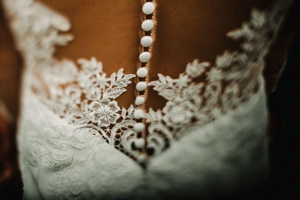 close up details of wedding dress