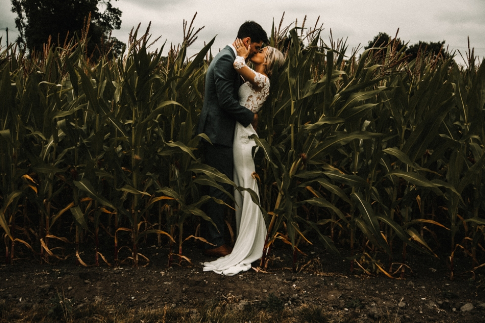 creative wedding portraits in the cornfields , manchester wedding