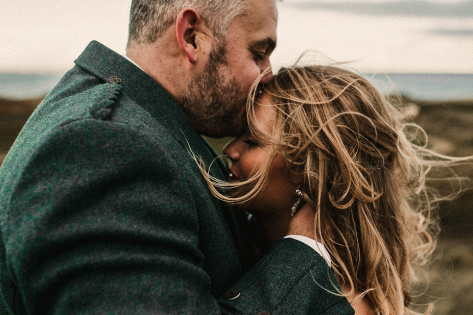 bride and groom on the scottish coast , wedding venue