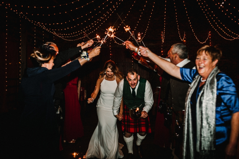 sparklers send off at kinked byre wedding