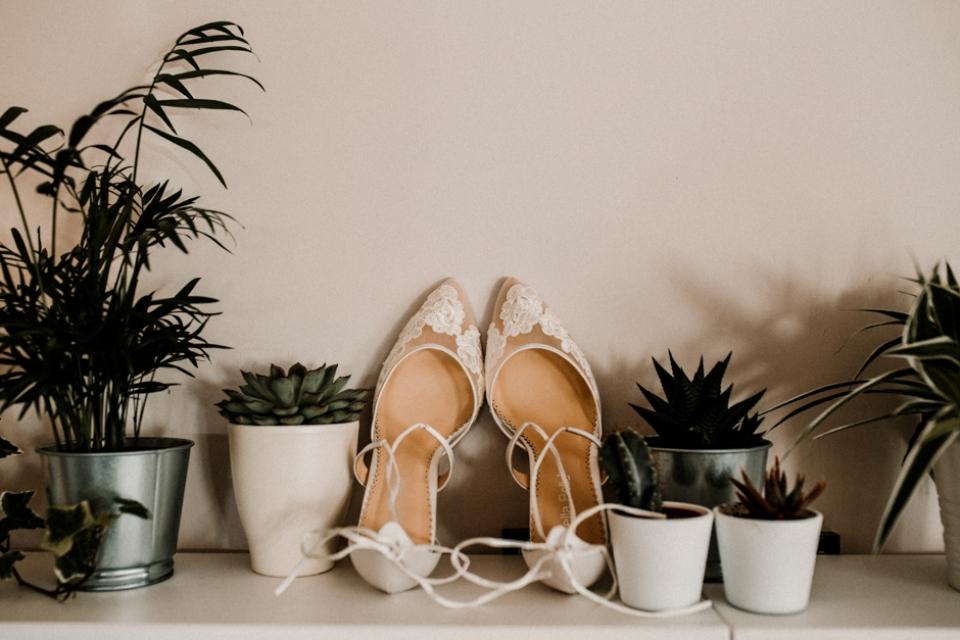 bella belle shoes , bridal shoe details shot