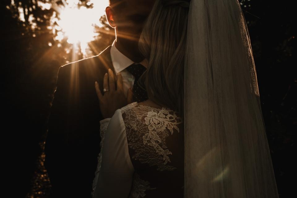 beautiful golden hour lighting at wedding , shropshire