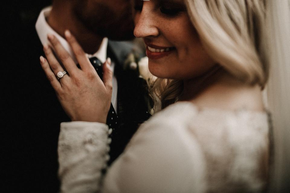 close up intimate couple wedding photography