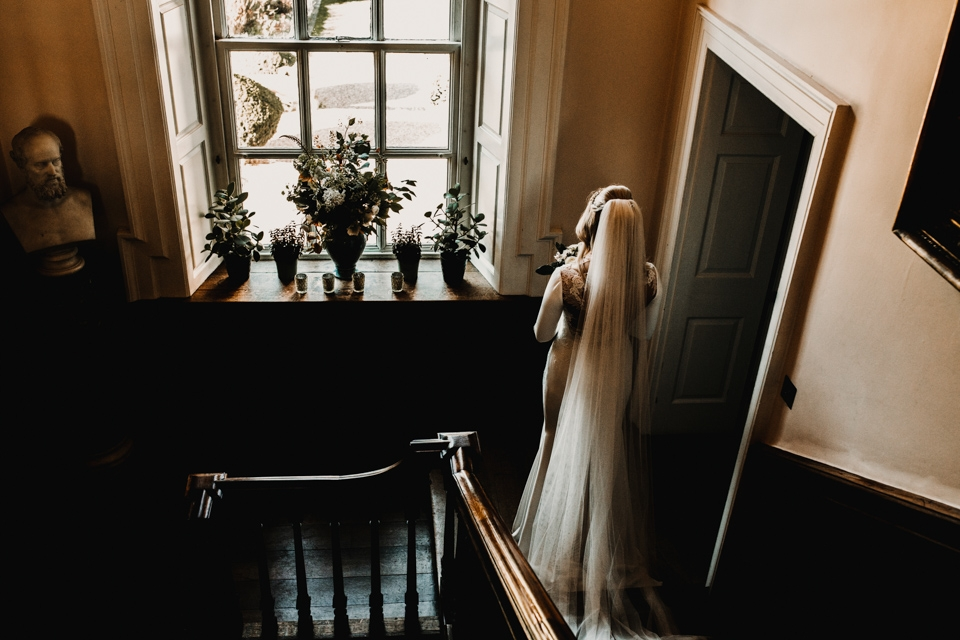bride waiting at top of the stairs , Iscoyd clock tower