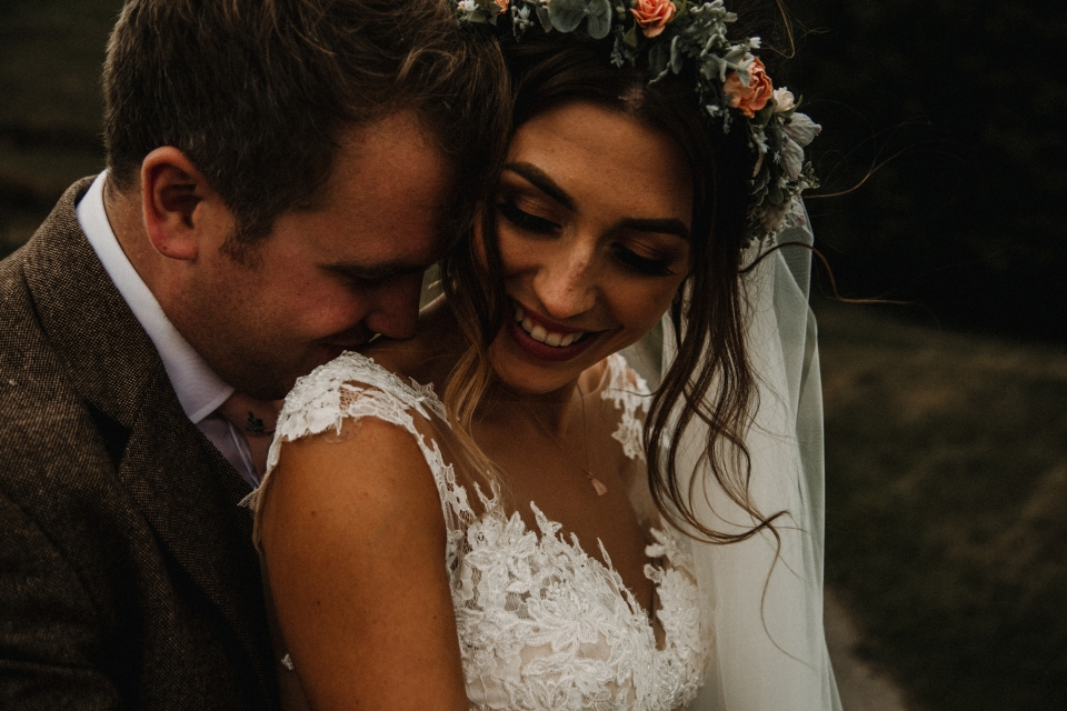 flower crown and boho bride at kingscote barn wedding venue