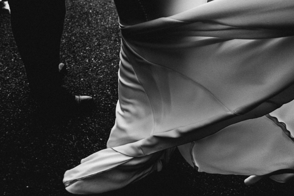 riverdale barn , northern ireland , pronovias gown blowing in the wind