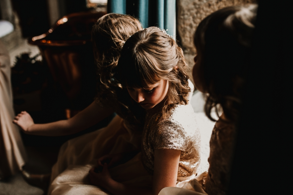 flower girls in beautiful window light
