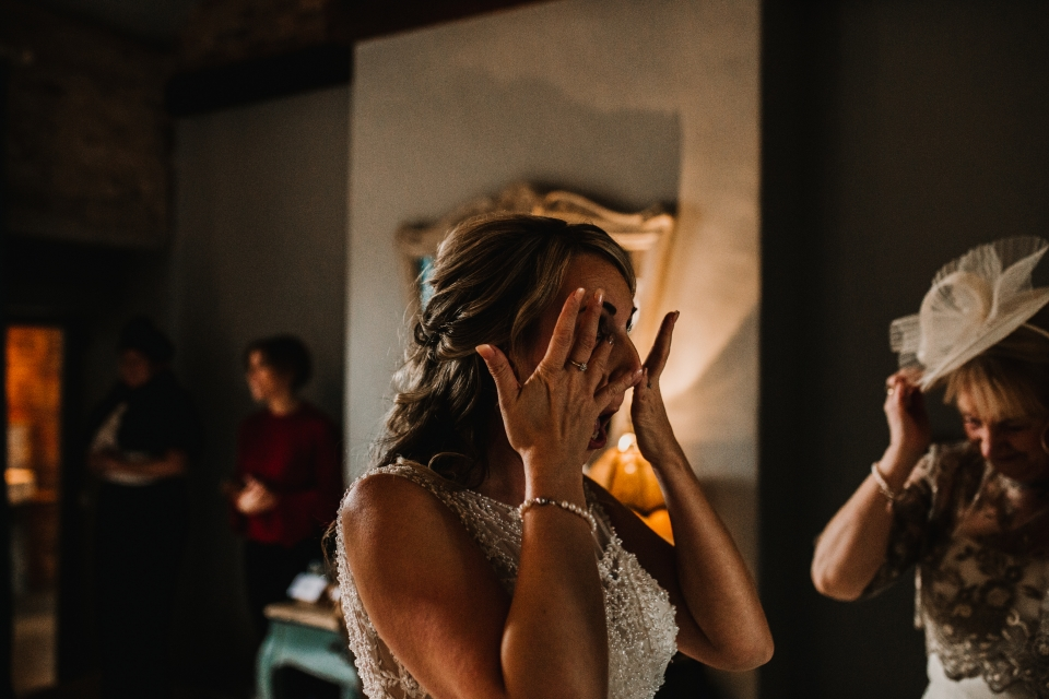 bride becoming emotional at bridal prep