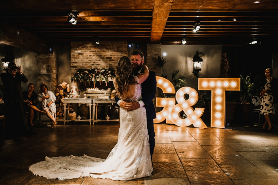 bride and groom at first dance scotland