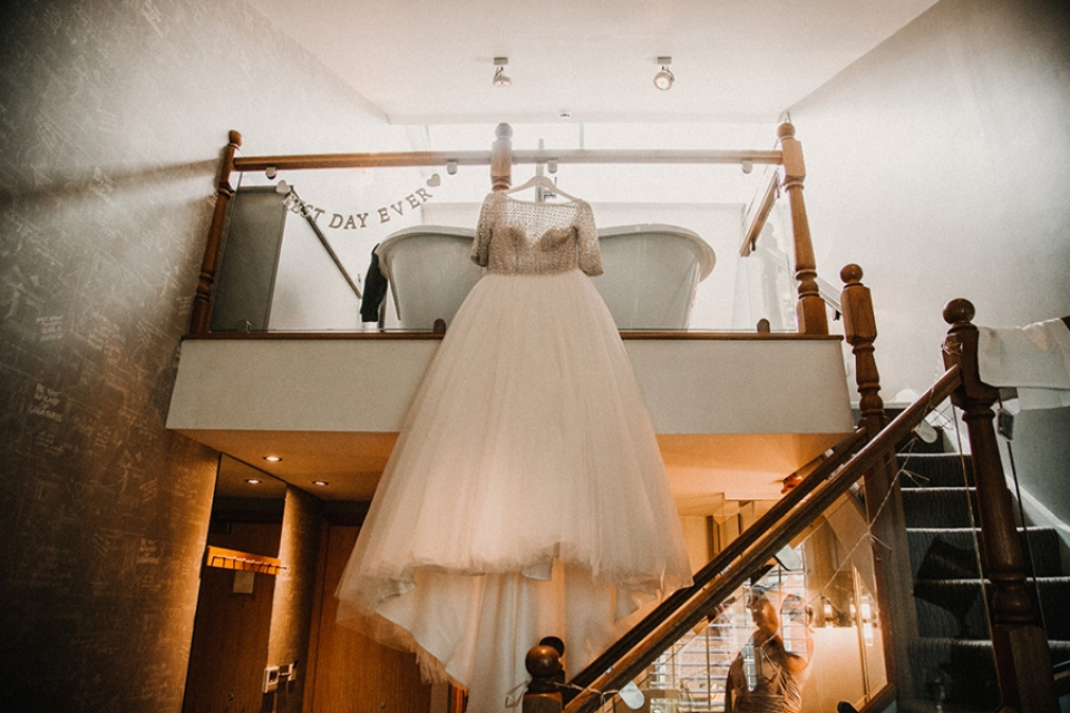 maggie sottero dress at odd fellows wedding venue