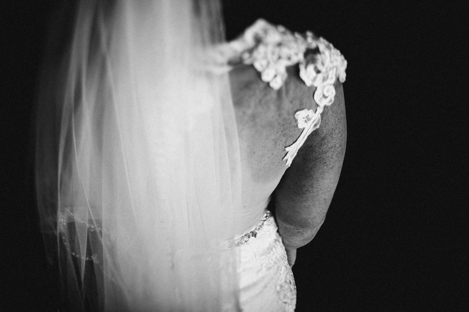 brides veil and back of dress detail