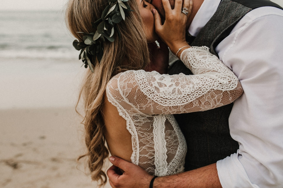 intimate bride and groom beach portraits in cornwall