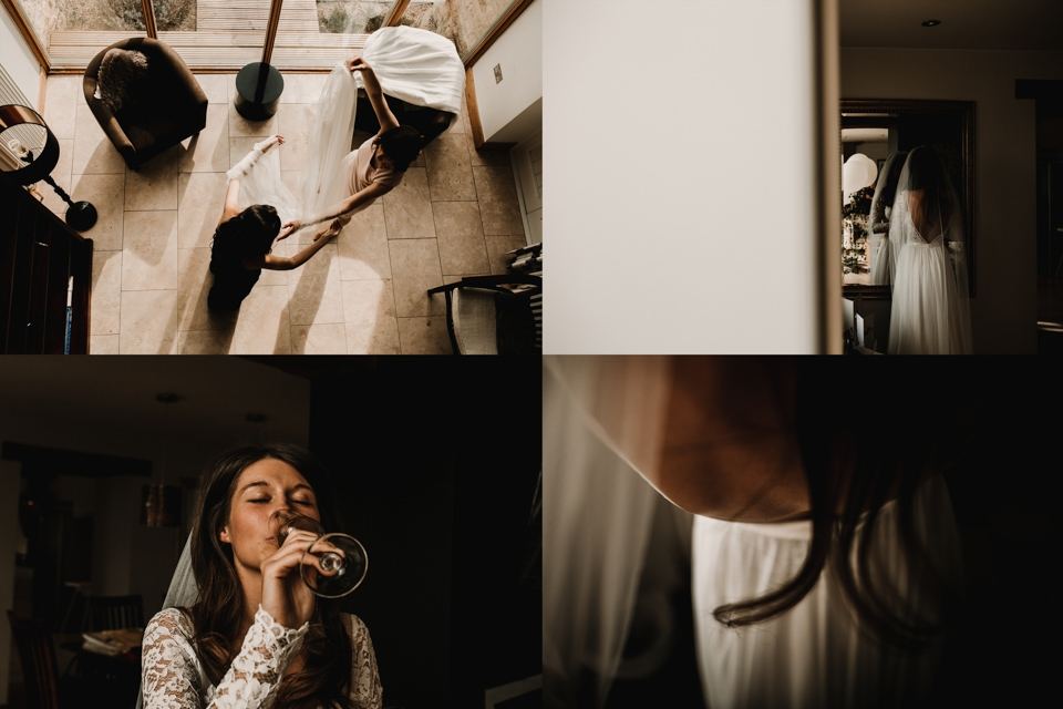 bride getting ready in the cotswolds