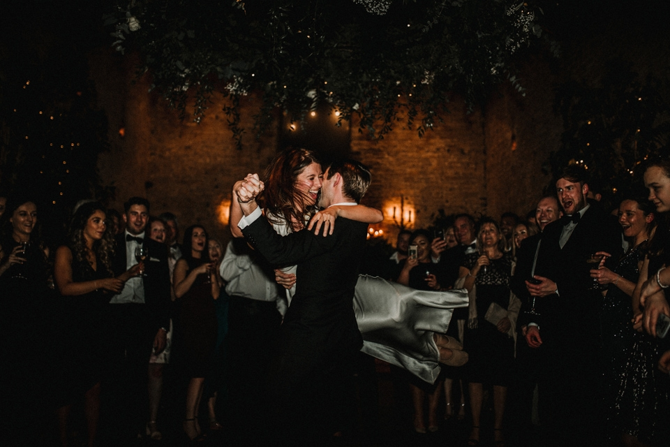 bride and groom dancing at cripps barn cotswolds