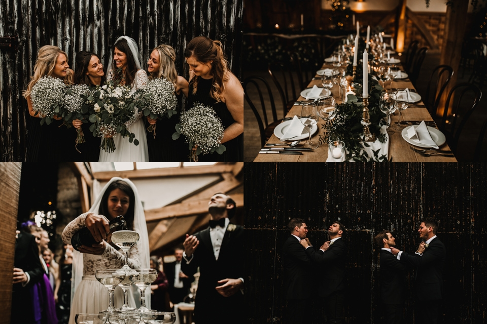 bride tribe and ushers with champagne towers in cripps barn