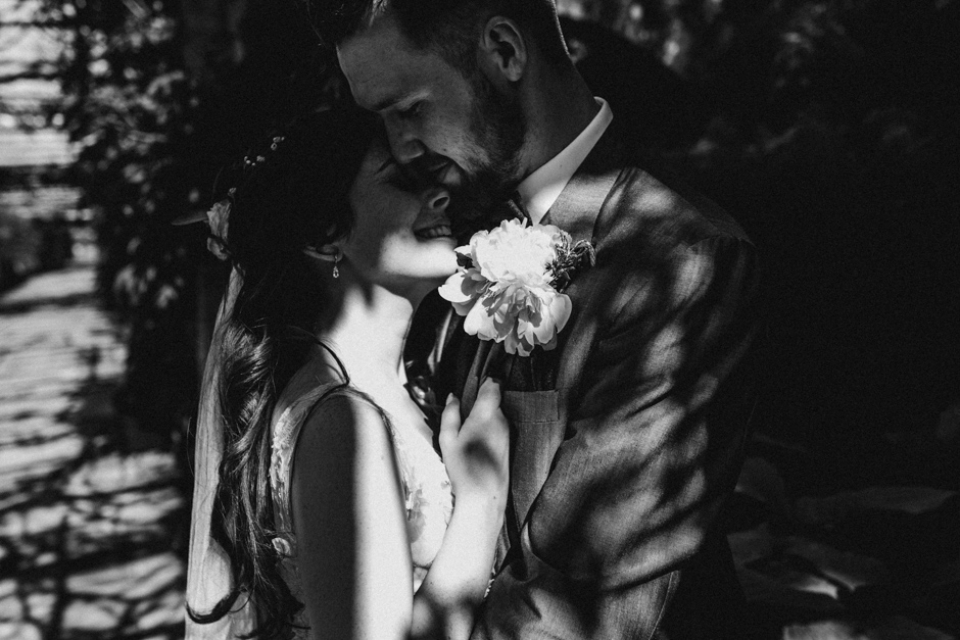 dappled black and white wedding photography , Hever castle