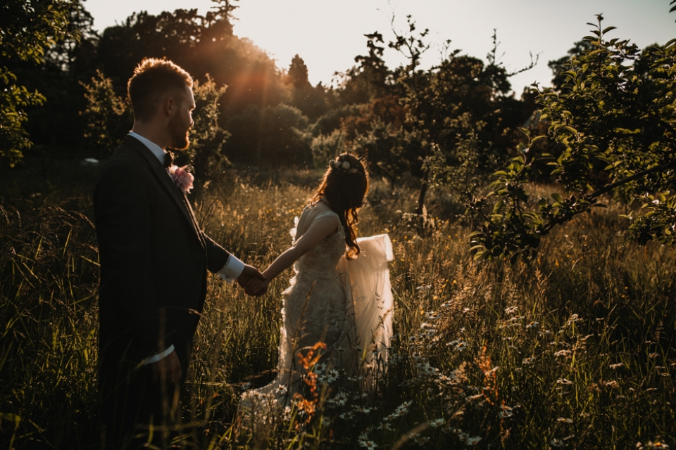 golden hour couple portraits , never castle , kent