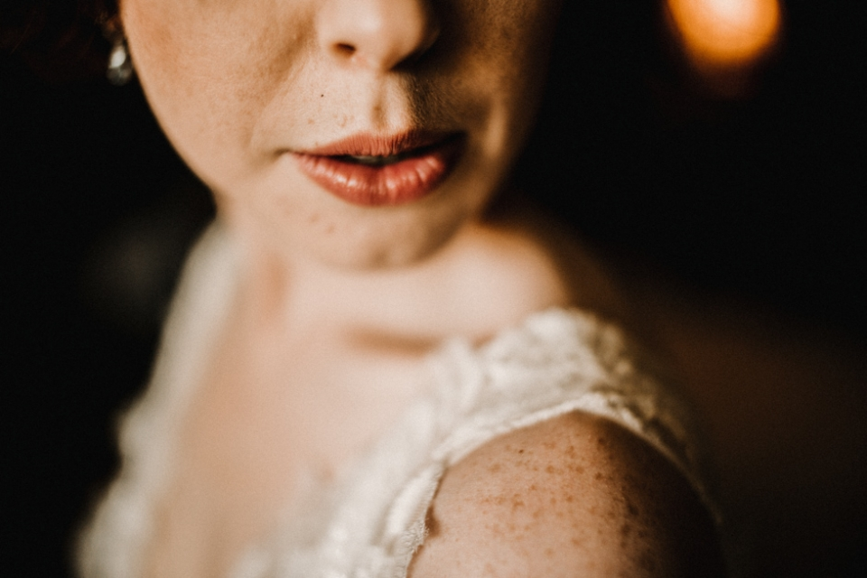 bride close up portrait of her lips
