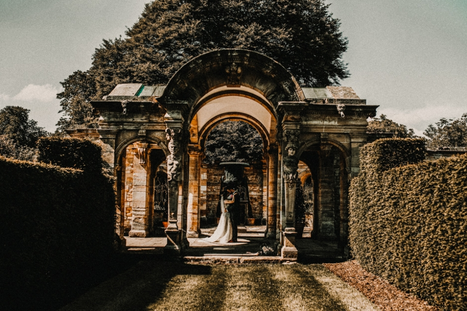 italian gardens , Hever castle wedding