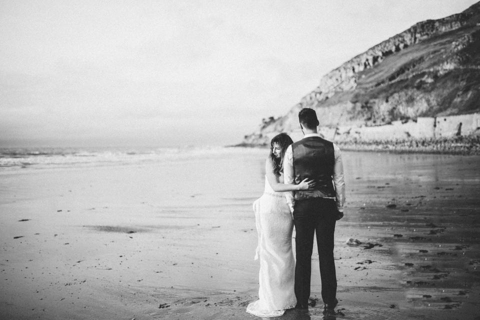 black and white wedding photography couple