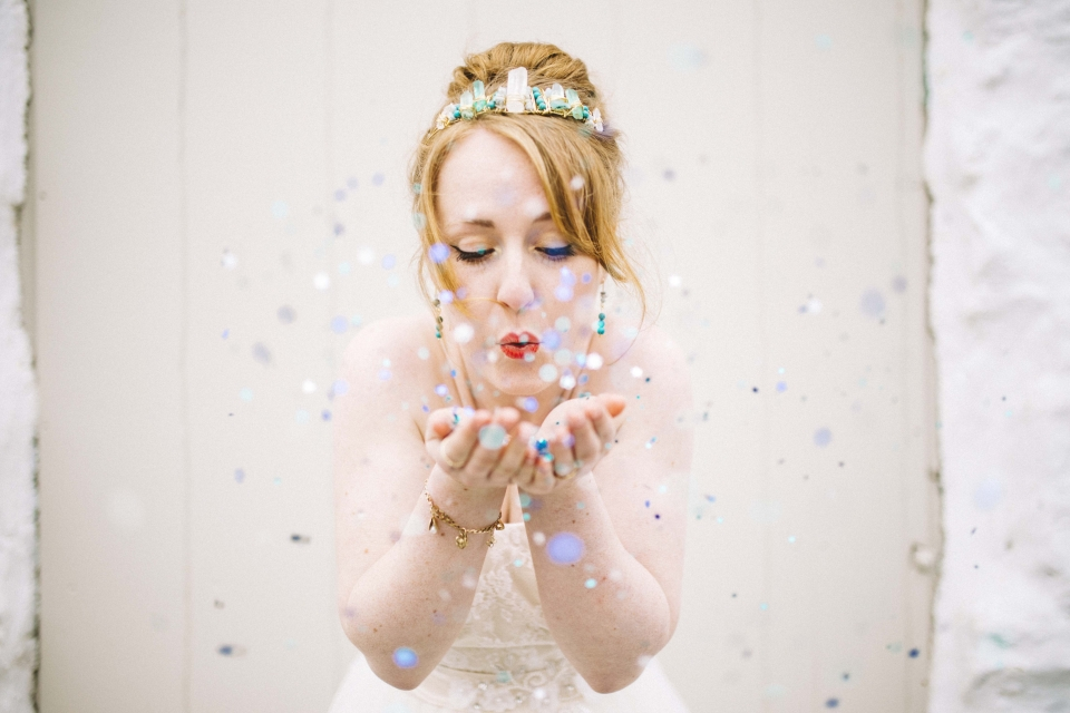 confetti shot with a difference , north wales, hafod farm