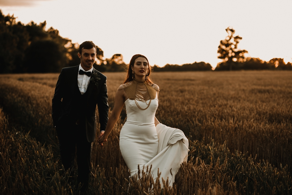 golden hour bride and groom portraits in gloucester