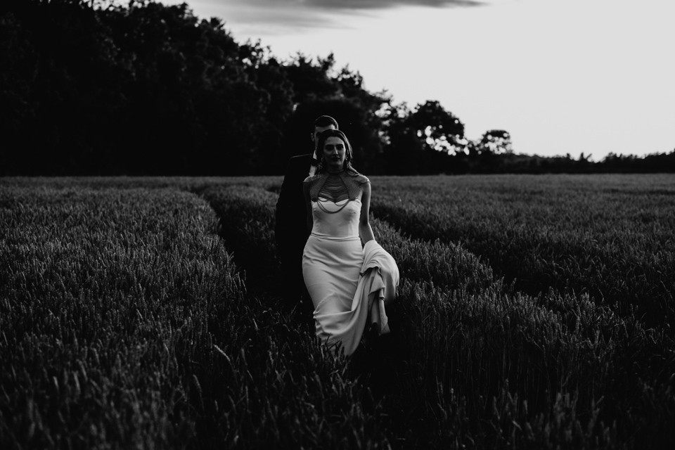 black and white wedding portraits in cripps stone barn