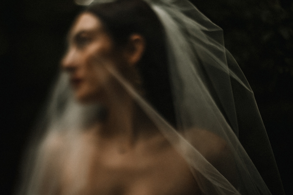 creative bridal portrait with motion blur