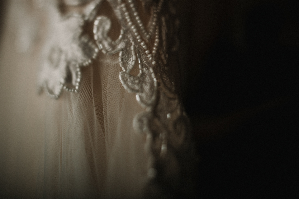 close up detail of emma beaumont gown
