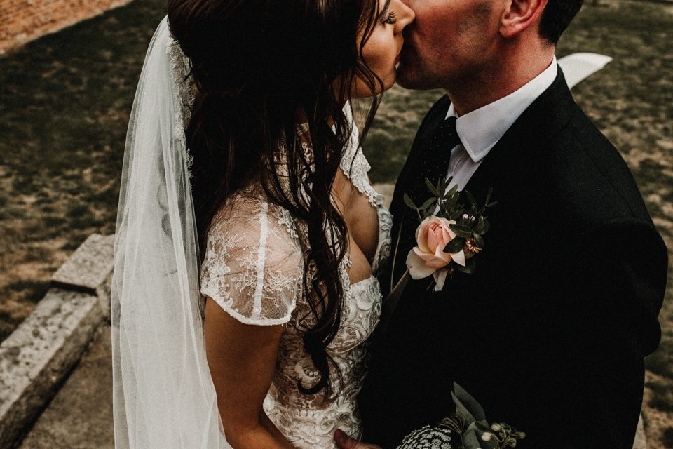 bride and groom enjoying kissing on their wedding day