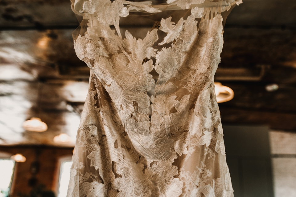 close up wedding dress photograph